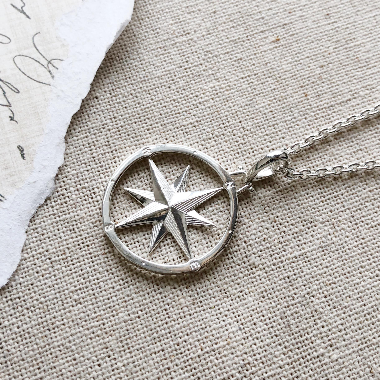 Large silver compass rose pendant versant large silver compass rose pendant aloadofball Choice Image