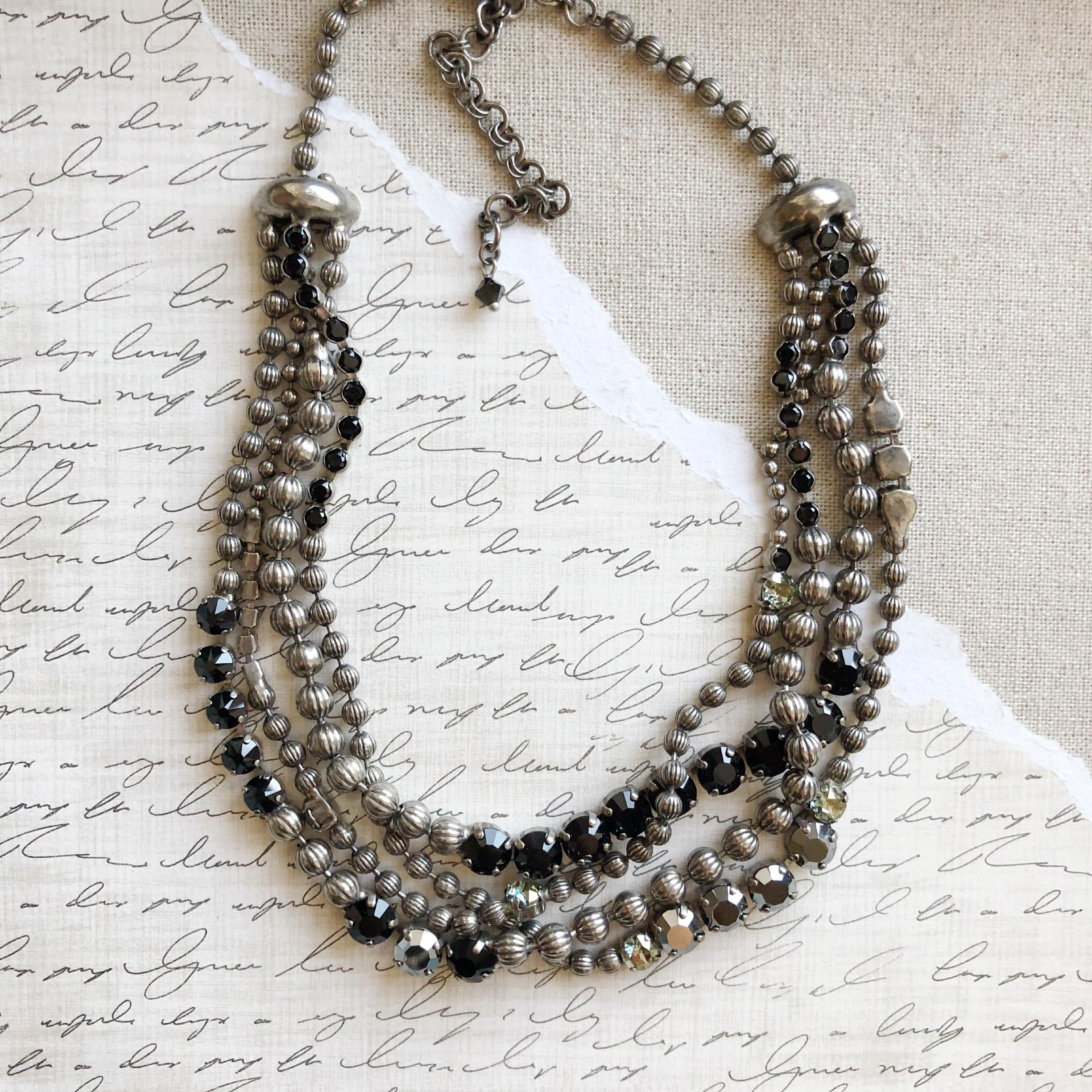 silver black luscious finds onyx necklace stg n product sj