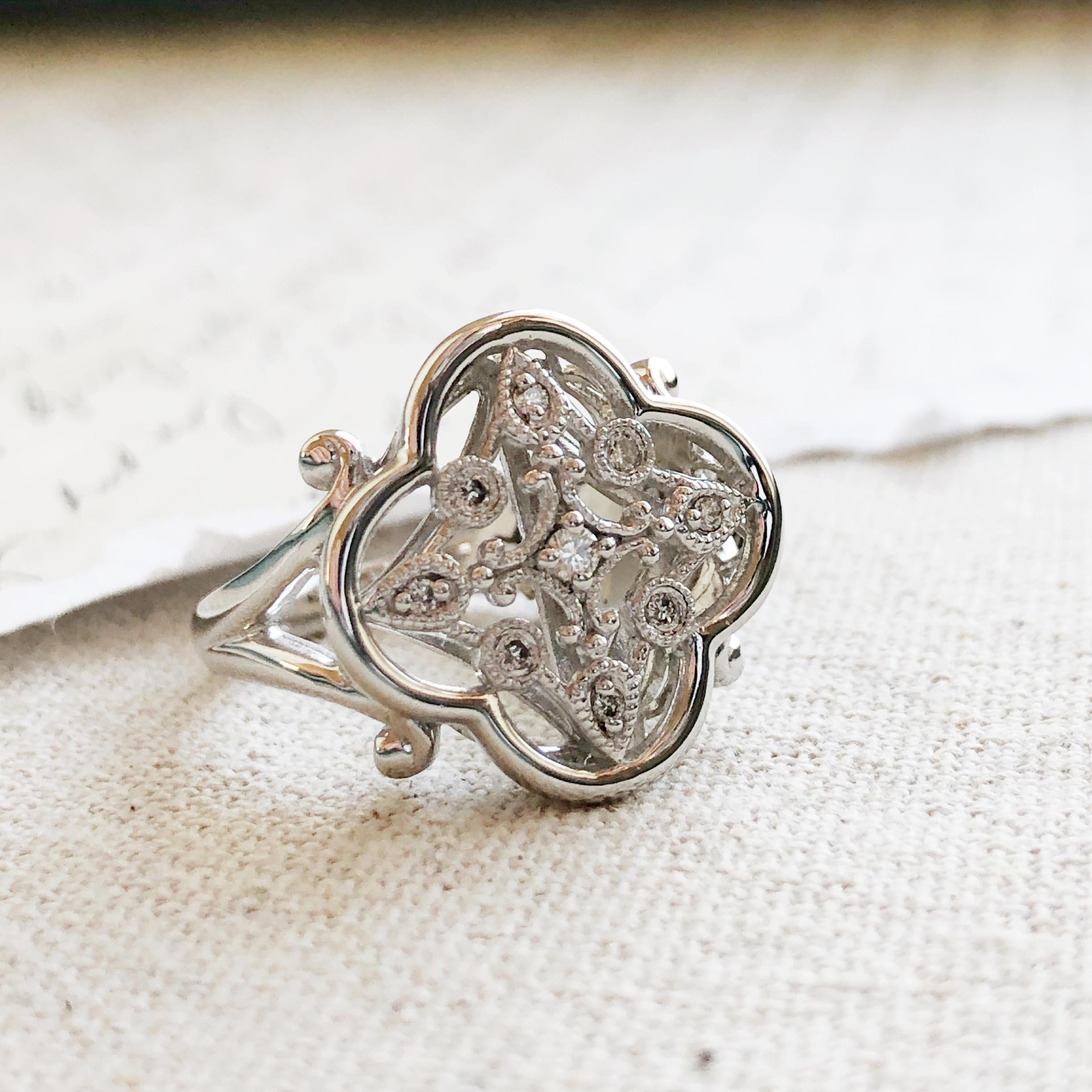 Victorian Fleur Diamond Statement Ring Versant