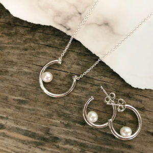 84332d585 The Contemporary Pearl necklace ($90) and Hoop Earrings ($90) would make a  great set for the girl who likes a streamlined look that focuses on the  beauty of ...