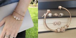 726c434c6 Pandora Rose Open Bangle ($200), Vintage Allure Earrings ($100), Essence  Bracelet & Charms