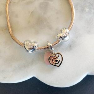 Mosaic Heart Charm Pink /& Mint