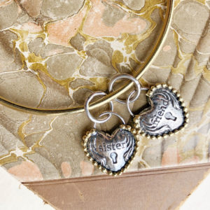 Waxing Poetic Retired Sister and Friend Heartlock Charms