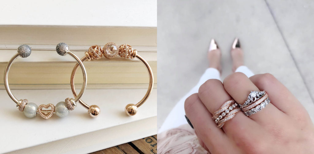4b5f53c1b ... Pandora Rose Inspiration Within ($50), Silver Glitter Ball ($40), and  Pandora Rose Beaded Heart ($40) charms. Pandora Rose Open Bangle ($200)  styled ...