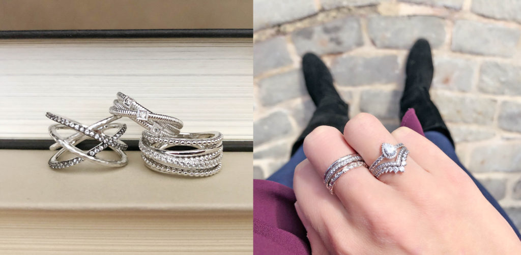 c886bbf4e ... Textured Sparkle Ring ($175), White Sapphire Crossover Ring ($225)  Right Picture: Pandora Regal Beauty ($45), Hearts of Pandora ($80),  Droplets ($55) ...