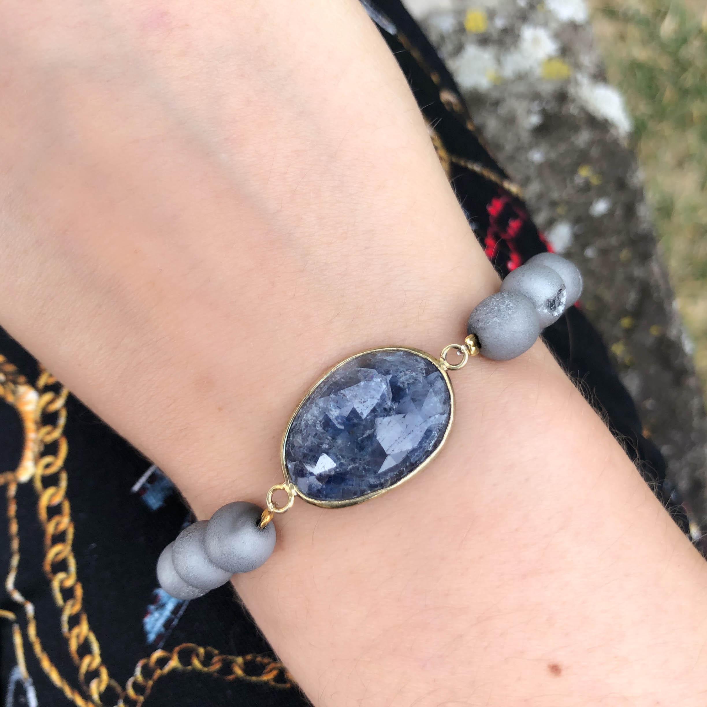 dd60faee8da00 Raw Sapphire Slice and Druzy Agate Bracelet