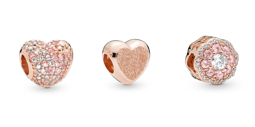 da257b67b The all-Pandora Rose charms include the Rose Gleaming Ladybird Heart charm  ($100), Matte Brilliance Heart Charm ($55), and Pink Sparkle Flower charm  ($115).