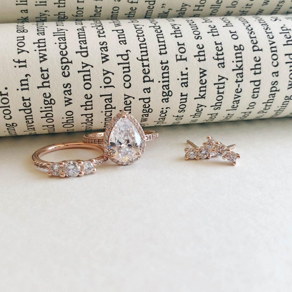 5fdc8b990 Sparkling Elegance Ring ($90), Radiant Teardrop Ring ($125), and Sparkling  Elegance Earrings ($65)