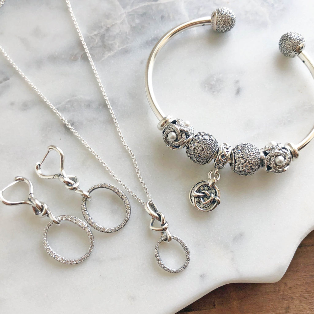 d9d4a46e4 Knotted Heart Dangle Earrings ($100), Knotted Heart Necklace ($90), Open  Bangle ($125) styled with Luminous Love Knot ($65), Enchanted Pavé ($75),  ...